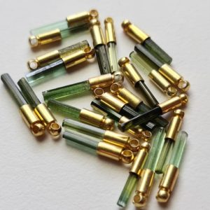 Shop Green Tourmaline Stones & Crystals! 15.5-18.5mm Tourmaline Sticks Single Loop Connector 5 Pcs Green Tourmaline 925 Silver Connector with Gold Polish Finding Silver Charm-PSG184 | Natural genuine stones & crystals in various shapes & sizes. Buy raw cut, tumbled, or polished gemstones for making jewelry or crystal healing energy vibration raising reiki stones. #crystals #gemstones #crystalhealing #crystalsandgemstones #energyhealing #affiliate #ad