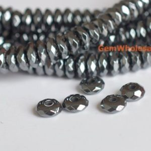 """Shop Hematite Faceted Beads! 15.5"""" Hematite 2×5.5~6mm roundel faceted beads, silver black metal color gemstone, stone for man style, high quality DIY jewelry beads FGCO 