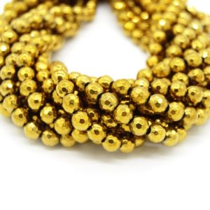 Hematite Beads |  Faceted Metallic Gold Round Natural Gemstone Beads – 4mm 6mm 8mm 10mm Available | Natural genuine beads Gemstone beads for beading and jewelry making.  #jewelry #beads #beadedjewelry #diyjewelry #jewelrymaking #beadstore #beading #affiliate #ad