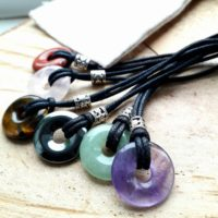 Small Gemstone Pendant, Hematite Donut Necklace, Adjustable Leather Or Vegan Cord, Unisex Gift For Teen | Natural genuine Gemstone jewelry. Buy crystal jewelry, handmade handcrafted artisan jewelry for women.  Unique handmade gift ideas. #jewelry #beadedjewelry #beadedjewelry #gift #shopping #handmadejewelry #fashion #style #product #jewelry #affiliate #ad