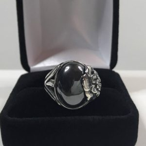 Shop Hematite Rings! Beautiful Genuine Hematite Sterling Silver Ring Size 7 8 Floral Rose 16x12mm Trending Jewelry Gift Ring Gothic and Enchanted Mystic Healing | Natural genuine Hematite rings, simple unique handcrafted gemstone rings. #rings #jewelry #shopping #gift #handmade #fashion #style #affiliate #ad