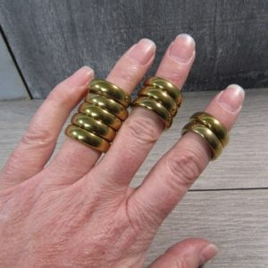 Shop Hematite Rings! SET of 10 Gold Hematite Rings 21-22 mm Size 7 Approx M212 | Natural genuine Hematite rings, simple unique handcrafted gemstone rings. #rings #jewelry #shopping #gift #handmade #fashion #style #affiliate #ad