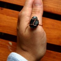 Hematite Ring – Us Size 8 – Wirewrapped Jewelry With Sustainable Natural Copper – Ecofriendly, Magic, Fairy, Wedding, Anniversary, Band | Natural genuine Gemstone jewelry. Buy handcrafted artisan wedding jewelry.  Unique handmade bridal jewelry gift ideas. #jewelry #beadedjewelry #gift #crystaljewelry #shopping #handmadejewelry #wedding #bridal #jewelry #affiliate #ad