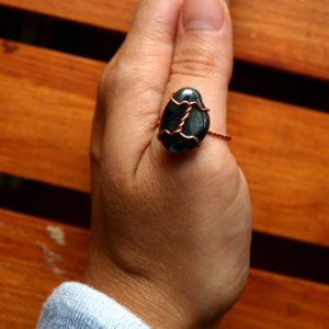 Shop Hematite Rings! Hematite Ring – Us Size 8 – Wirewrapped Jewelry With Sustainable Natural Copper – Ecofriendly, Magic, Fairy, Wedding, Anniversary, Band | Natural genuine Hematite rings, simple unique alternative gemstone engagement rings. #rings #jewelry #bridal #wedding #jewelryaccessories #engagementrings #weddingideas #affiliate #ad
