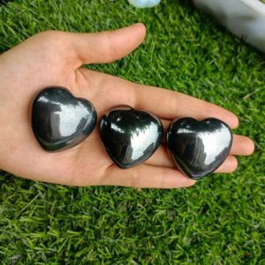 """Shop Hematite Shapes! Hematite Heart Puffy Large 40mm (1.5"""") 