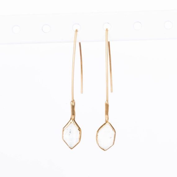 Edgy Raw Herkimer Diamond Earrings For Women, Unique Gift April Birthstone Earrings, Unique Gift For Her, Raw Crystal Earrings, Ringcrush