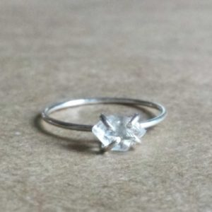 Raw Herkimer Diamond Ring, Solitaire Engagement Ring, Raw Gemstone Jewelry, Wedding Day Gift for Her, Wife Valentines, Girlfriend Gift | Natural genuine Gemstone rings, simple unique alternative gemstone engagement rings. #rings #jewelry #bridal #wedding #jewelryaccessories #engagementrings #weddingideas #affiliate #ad