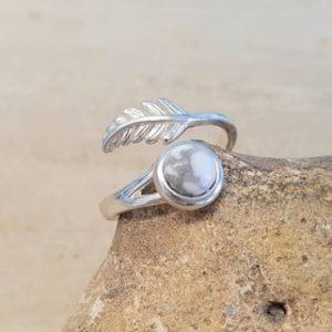Shop Howlite Rings! White Howlite Feather Ring. Uk Size N Us Size 7. 925 Sterling Silver Rings For Women. Reiki Jewelry. Gemini Jewelry. 6mm Stone | Natural genuine Howlite rings, simple unique handcrafted gemstone rings. #rings #jewelry #shopping #gift #handmade #fashion #style #affiliate #ad