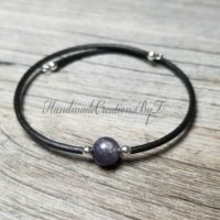 Iolite Bracelet, 8mm Gemstone, Indigo, Blue, Black, Silver, Womens, Simple Cuff Style Jewelry | Natural genuine Gemstone jewelry. Buy crystal jewelry, handmade handcrafted artisan jewelry for women.  Unique handmade gift ideas. #jewelry #beadedjewelry #beadedjewelry #gift #shopping #handmadejewelry #fashion #style #product #jewelry #affiliate #ad