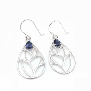 Shop Iolite Earrings! Iolite Earrings / / Iolite Silver Earrings / / Teardrop Floral Design / / Sterling Silver | Natural genuine Iolite earrings. Buy crystal jewelry, handmade handcrafted artisan jewelry for women.  Unique handmade gift ideas. #jewelry #beadedearrings #beadedjewelry #gift #shopping #handmadejewelry #fashion #style #product #earrings #affiliate #ad