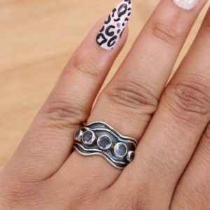 Shop Iolite Rings! Blue Iolite 925 Sterling Silver Band Ring | Natural genuine Iolite rings, simple unique handcrafted gemstone rings. #rings #jewelry #shopping #gift #handmade #fashion #style #affiliate #ad