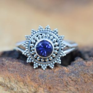 Shop Iolite Rings! Blue Iolite 925 Sterling Silver Ring Flower Gemstone Jewelry Ring | Natural genuine Iolite rings, simple unique handcrafted gemstone rings. #rings #jewelry #shopping #gift #handmade #fashion #style #affiliate #ad