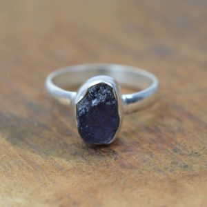Shop Iolite Rings! Rough Blue Iolite 925 Sterling Silver Gemstone Jewelry Ring | Natural genuine Iolite rings, simple unique handcrafted gemstone rings. #rings #jewelry #shopping #gift #handmade #fashion #style #affiliate #ad