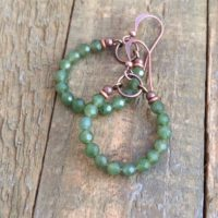 Green Jade Earrings, Natural Jade Jewelry, Green Stone Jewelry, Jewelry, Green Hoop Earrings, Gift For Women   Natural genuine Gemstone jewelry. Buy crystal jewelry, handmade handcrafted artisan jewelry for women.  Unique handmade gift ideas. #jewelry #beadedjewelry #beadedjewelry #gift #shopping #handmadejewelry #fashion #style #product #jewelry #affiliate #ad