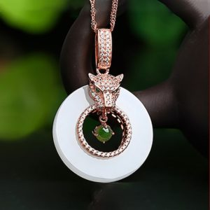 Shop Jade Necklaces! Genuine Green and White Nephrite Jade Leopard Necklace with CZ (Rose Gold Plated or Silver) | Natural genuine Jade necklaces. Buy crystal jewelry, handmade handcrafted artisan jewelry for women.  Unique handmade gift ideas. #jewelry #beadednecklaces #beadedjewelry #gift #shopping #handmadejewelry #fashion #style #product #necklaces #affiliate #ad