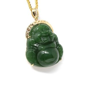 Shop Jade Pendants! 18K Yellow Gold Real Green Jade Happy Buddha Pendant Necklace, Jade Jewelry For Men, Women, Love,  Birthday Anniversary Gift, Buddha Guanyin | Natural genuine Jade pendants. Buy handcrafted artisan men's jewelry, gifts for men.  Unique handmade mens fashion accessories. #jewelry #beadedpendants #beadedjewelry #shopping #gift #handmadejewelry #pendants #affiliate #ad