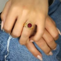 Delicate Jade Ring · Gold Ring · Gemstone Ring · Red Birthstone Ring · Vintage Ring · Bridal Ring · Precious Stone Ring · Gold Jade Jewelry | Natural genuine Gemstone jewelry. Buy handcrafted artisan wedding jewelry.  Unique handmade bridal jewelry gift ideas. #jewelry #beadedjewelry #gift #crystaljewelry #shopping #handmadejewelry #wedding #bridal #jewelry #affiliate #ad