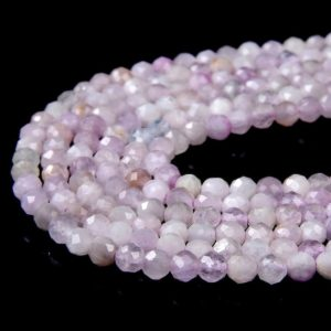 Shop Kunzite Beads! 3MM Natural Kunzite Gemstone Grade AAA Micro Faceted Round Loose Beads 15 inch Full Strand (80009195-P25)   Natural genuine faceted Kunzite beads for beading and jewelry making.  #jewelry #beads #beadedjewelry #diyjewelry #jewelrymaking #beadstore #beading #affiliate #ad