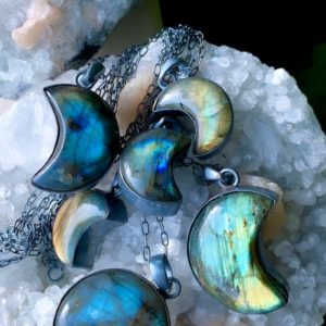 Shop Labradorite Necklaces! Labradorite necklace, crescent moon necklace   Natural genuine Labradorite necklaces. Buy crystal jewelry, handmade handcrafted artisan jewelry for women.  Unique handmade gift ideas. #jewelry #beadednecklaces #beadedjewelry #gift #shopping #handmadejewelry #fashion #style #product #necklaces #affiliate #ad