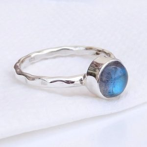 Shop Labradorite Rings! Simple Labradorite Ring, Hammered Band Ring, Round Gemstone Ring, Single Band Ring, Blue Flash Labradorite, Statement Ring, Dainty Ring | Natural genuine Labradorite rings, simple unique handcrafted gemstone rings. #rings #jewelry #shopping #gift #handmade #fashion #style #affiliate #ad