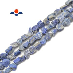"""Shop Lapis Lazuli Chip & Nugget Beads! Natural Lapis Rough Nugget Chunks Side Drill Beads Apprix 9x10mm 15.5"""" Strand 