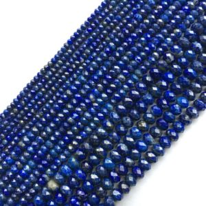 Shop Lapis Lazuli Faceted Beads! Lapis Lazuli Natural Gemstone Bead Round / faceted Round / faceted Rondelle 15''l | Natural genuine faceted Lapis Lazuli beads for beading and jewelry making.  #jewelry #beads #beadedjewelry #diyjewelry #jewelrymaking #beadstore #beading #affiliate #ad