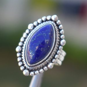 Shop Lapis Lazuli Rings! Beautiful Designer Lapis Lazuli Ring,Lapis Lazuli Ring,Solid 925 Sterling Silver Lapis Ring,Blue Gemstone Ring,Gift for her,Handmade Jewelry | Natural genuine Lapis Lazuli rings, simple unique handcrafted gemstone rings. #rings #jewelry #shopping #gift #handmade #fashion #style #affiliate #ad