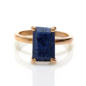 Shop Lapis Lazuli Jewelry! Lapis Ring, rose Gold Ring, 14k Gold Filled Ring, september Birthstone Ring, rectangle Ring, semiprecious Rings, pink Gold Ring | Natural genuine Lapis Lazuli jewelry. Buy crystal jewelry, handmade handcrafted artisan jewelry for women.  Unique handmade gift ideas. #jewelry #beadedjewelry #beadedjewelry #gift #shopping #handmadejewelry #fashion #style #product #jewelry #affiliate #ad