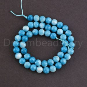 Larimar Stone Beads Smooth/ Matte Blue Gemstone 6mm 8mm 10mm 12mm 14mm Treatment Beads Sold by Strand (Not 100% Natural Larimar) | Natural genuine beads Array beads for beading and jewelry making.  #jewelry #beads #beadedjewelry #diyjewelry #jewelrymaking #beadstore #beading #affiliate #ad