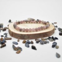 """Natural Lepidolite Semi-precious Gemstone Round Beads Sample Strand / Bracelet – 6mm Or 8mm Sizes, Approx 7.5"""" 