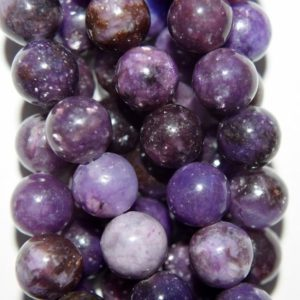 """Shop Lepidolite Round Beads! 8 mm Natural Lepidolite Gemstone Beads – Round 8 mm Gemstone Beads – Full Strand 15 1/2"""", 50 beads, A Quality 