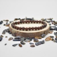 """Natural Mahogany Obsidian Semi-precious Gemstone Round Beads Sample Strand / Bracelet – 6mm Or 8mm Sizes, Approx 7.5"""" 