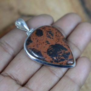 Shop Mahogany Obsidian Pendants! Mahogany Obsidian 925 Sterling Silver Pear Shape Handmade Pendant   Natural genuine Mahogany Obsidian pendants. Buy crystal jewelry, handmade handcrafted artisan jewelry for women.  Unique handmade gift ideas. #jewelry #beadedpendants #beadedjewelry #gift #shopping #handmadejewelry #fashion #style #product #pendants #affiliate #ad