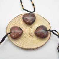 Natural Mahogany Obsidian Heart Shaped Semi-precious Gemstone Pendant With Cord – Approx Size 2.5cm – 3cm | Natural genuine Gemstone jewelry. Buy crystal jewelry, handmade handcrafted artisan jewelry for women.  Unique handmade gift ideas. #jewelry #beadedjewelry #beadedjewelry #gift #shopping #handmadejewelry #fashion #style #product #jewelry #affiliate #ad