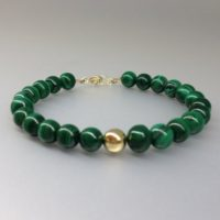 Bracelet Malachite With 14k Gold Bead Unique Gift For Her Genuine Green Natural Gemstone Elegant Timeless Classic | Natural genuine Gemstone jewelry. Buy crystal jewelry, handmade handcrafted artisan jewelry for women.  Unique handmade gift ideas. #jewelry #beadedjewelry #beadedjewelry #gift #shopping #handmadejewelry #fashion #style #product #jewelry #affiliate #ad
