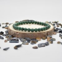 """Natural Malachite Semi-precious Gemstone Round Beads Sample Strand / Bracelet – 6mm Or 8mm Sizes, Approx 7.5"""" 