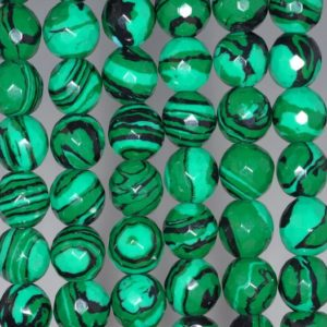 Shop Malachite Faceted Beads! 12mm Hedge Mazes Malachite Gemstone Green Faceted Round 12mm Loose Beads 15.5 inch Full Strand (90146238-217) | Natural genuine faceted Malachite beads for beading and jewelry making.  #jewelry #beads #beadedjewelry #diyjewelry #jewelrymaking #beadstore #beading #affiliate #ad