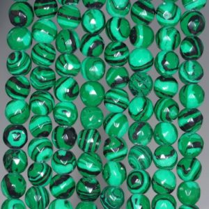 Shop Malachite Faceted Beads! 6mm Hedge Maze Malachite Gemstone Green Faceted Round 6mm Loose Beads 15.5 inch Full Strand (90146404-154) | Natural genuine faceted Malachite beads for beading and jewelry making.  #jewelry #beads #beadedjewelry #diyjewelry #jewelrymaking #beadstore #beading #affiliate #ad