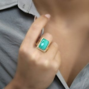 Shop Malachite Rings! Gold Malachite Ring · Gold Rectangle Ring · Gemstone Ring · 14 Karat Solid Gold Ring · Malachite Jewelry · Gifts For Mom · Vintage Ring | Natural genuine Malachite rings, simple unique handcrafted gemstone rings. #rings #jewelry #shopping #gift #handmade #fashion #style #affiliate #ad