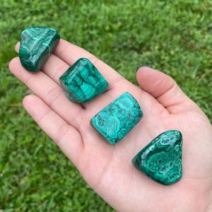 Shop Tumbled Malachite Crystals & Pocket Stones! Malachite, Polished Malachite, Malachite Tumbled Stones, Malachite Tumble Stone, Malachite Crystal, Your Choice Stone | Natural genuine stones & crystals in various shapes & sizes. Buy raw cut, tumbled, or polished gemstones for making jewelry or crystal healing energy vibration raising reiki stones. #crystals #gemstones #crystalhealing #crystalsandgemstones #energyhealing #affiliate #ad