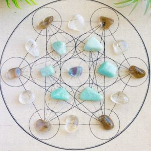 Shop Crystal Healing! Metatron's Cube Crystal Grid Kit With Mat and 19 Crystals | Shop jewelry making and beading supplies, tools & findings for DIY jewelry making and crafts. #jewelrymaking #diyjewelry #jewelrycrafts #jewelrysupplies #beading #affiliate #ad