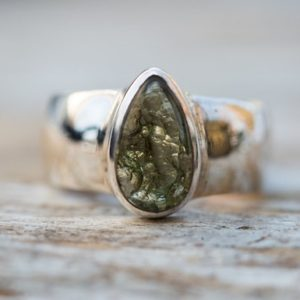 Shop Moldavite Rings! Moldavite Ring 7 – Moldavite buff top half Raw half Smooth Ring size 7 – Moldavite Ring size 7 – Moldavite Ring Silver Moldavite Ring   Natural genuine Moldavite rings, simple unique handcrafted gemstone rings. #rings #jewelry #shopping #gift #handmade #fashion #style #affiliate #ad