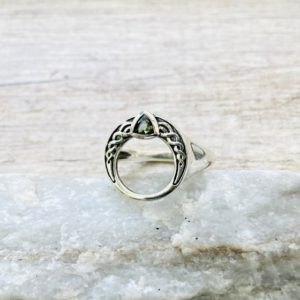 Celtic Design Very Rare Genuine Natural Faceted Moldavite Ring, Genuine Moldavite Ring, 925 Sterling Silver Ring, Natural Crystal Ring | Natural genuine Moldavite rings, simple unique handcrafted gemstone rings. #rings #jewelry #shopping #gift #handmade #fashion #style #affiliate #ad