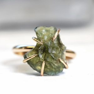 Raw Moldavite Ring – Genuine Moldavite Ring – Gold Filled Crystal Ring – Raw Stone and Gold Ring | Natural genuine Moldavite rings, simple unique handcrafted gemstone rings. #rings #jewelry #shopping #gift #handmade #fashion #style #affiliate #ad