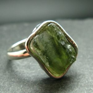 Shop Moldavite Rings! Moldavite Tektite Silver Ring from Czech Republic – Adjustable Size – 6.0 Grams   Natural genuine Moldavite rings, simple unique handcrafted gemstone rings. #rings #jewelry #shopping #gift #handmade #fashion #style #affiliate #ad