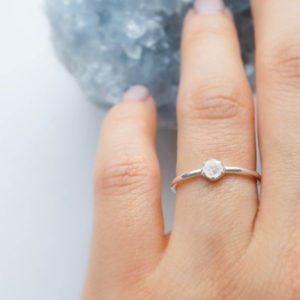 Shop Moonstone Rings! 3mm Moonstone Silver Ring. Hexagon Gem Sterling Silver Dainty Ring Geometric Stacking Ring White Flash Gem Ring | Natural genuine Moonstone rings, simple unique handcrafted gemstone rings. #rings #jewelry #shopping #gift #handmade #fashion #style #affiliate #ad