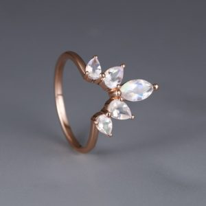 Shop Moonstone Rings! Moonstone Wedding Band Rose Gold Women Curved Marquise Cut Pear Cut Art Deco Vintage Matching Anniversary Unique Promise Prong Ring | Natural genuine Moonstone rings, simple unique alternative gemstone engagement rings. #rings #jewelry #bridal #wedding #jewelryaccessories #engagementrings #weddingideas #affiliate #ad