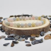 """Natural Morganite Semi-precious Gemstone Round Beads Sample Strand / Bracelet – 6mm Or 8mm Sizes, Approx 7.5"""" 