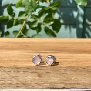 Raw Stone Studs,  Morganite Silver Earrings, Raw Gemstone Studs, Bride Or Bridesmaids' Jewellery, Gift For Her | Natural genuine Gemstone earrings. Buy crystal jewelry, handmade handcrafted artisan jewelry for women.  Unique handmade gift ideas. #jewelry #beadedearrings #beadedjewelry #gift #shopping #handmadejewelry #fashion #style #product #earrings #affiliate #ad
