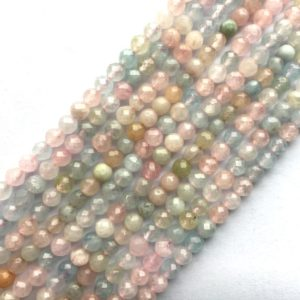 Shop Morganite Faceted Beads! Morganite Natural Gemstone Bead Faceted Round / faceted Rondelle 15''l | Natural genuine faceted Morganite beads for beading and jewelry making.  #jewelry #beads #beadedjewelry #diyjewelry #jewelrymaking #beadstore #beading #affiliate #ad